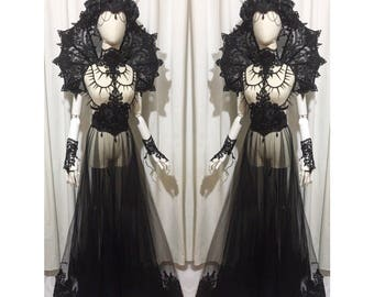 Complete gothic outfit lingerie set, mesh round skirt with lace