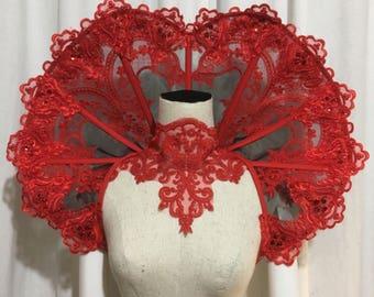 Elizabethan Collar Lace Wired ruff mesh handmade heart shape standing alone