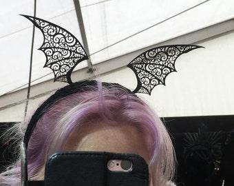 Handmade headband with filigree small Vampire bat wings - halloween accessories
