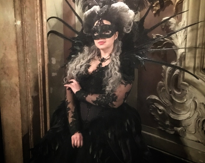 Elizabethan gothic Vampire shoulder piece with long feathers