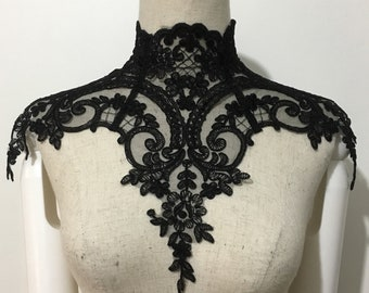 Gothic Victorian Lace Necklace with back laces and bead luxury lace