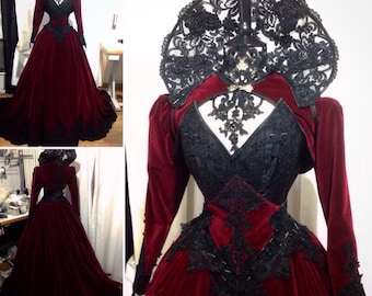Gothic Custom handmade gown with velvet and lace decorations