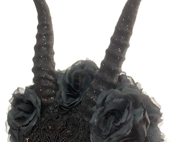 Handmade hat with frontal hand molded Antilope horns roses lace feathers and decorations gothic