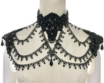 Gothic Victorian Lace necklace epaulettes with metal rhinestones chains