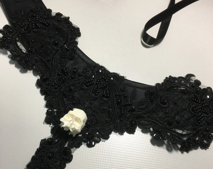 Gothic Necklace with beaded lace and mini human skull