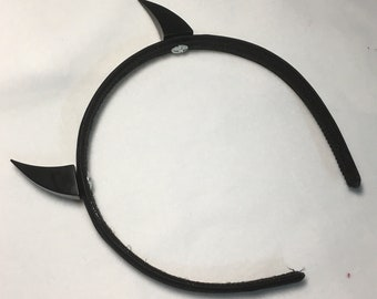 Handmade headband with Metal pointed devil horns