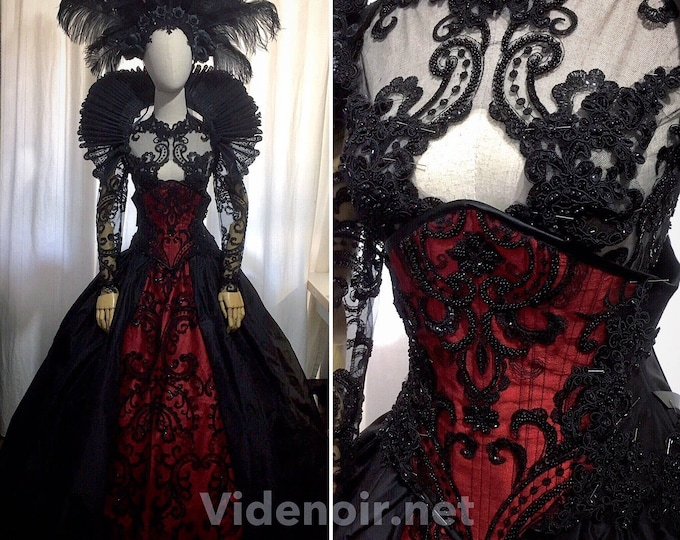 Gothic handmade dress with luxury beaded lace
