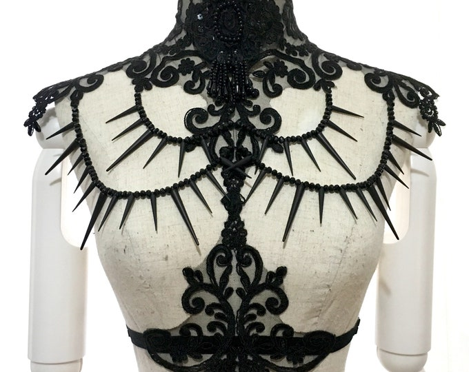 Gothic Victorian Lace necklace epaulettes with glass beads and studs
