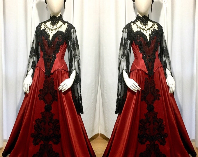 Gothic gown on meansurement with silk and beaded lace decorations
