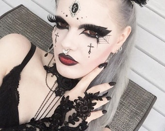 Lace handmade gothic cuffs gloves luxury lace