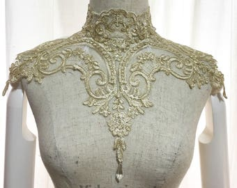 Gold Gothic Victorian Lace Necklace with back laces and bead luxury lace