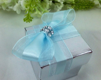 25 Silver Favor Box with Baby Blue Bow, Bridal Shower, Wedding, Candy Holder, Gift Box