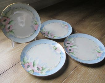 Vintage hand painted dessert plates ~ Set of four
