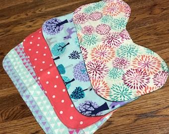 Set of 4 Flannel Burp Cloths