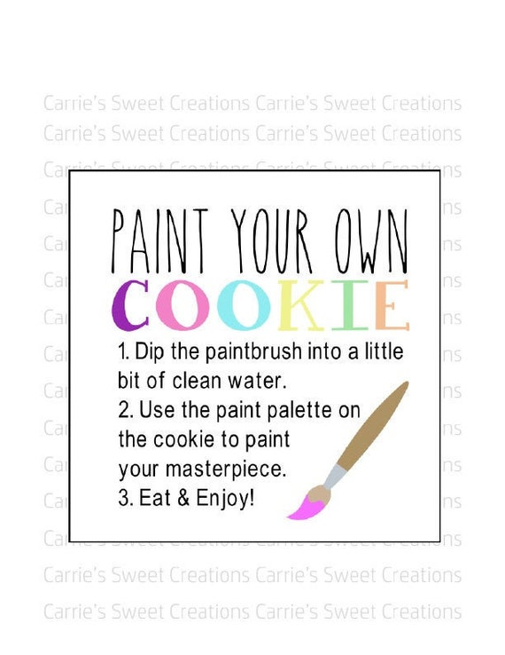 Paint Your Own Cookie Diy Instructions INSTANT DOWNLOAD PYO Cookie Instruction Printable 2.5 Square Cookie Tag