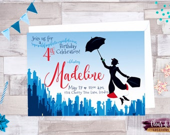 Digital file OR Printed Mary Poppins Practically Perfect Birthday Invitation