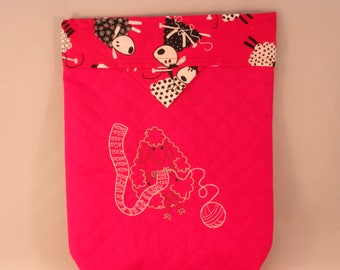 Snap Purse Knitting Project Bag with Embroidered Sheep Knitting on Red Quilted Fabric for your Craft and Travel Needs