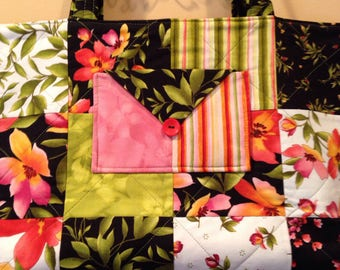 Knitting Shopping Travel Quilted Tote Bag in Moda Fabrics Green Black Pink Florals