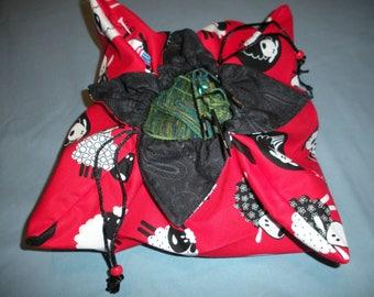 Knitting Project Bag Origami Drawstring WIP  Crochet Spin Fiber YarnWool Bag in Red Sheep Print