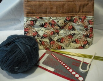 Snap Purse Butterfly Fabric Cosmetic Knitting Project Travel Notions WIP Case