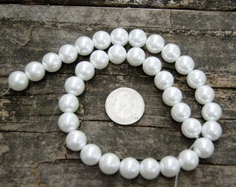 12mm Glass Pearls in White (15.5 inch strand)