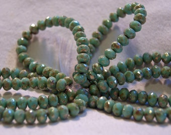 Czech Beads 6mm Glass Rondelles in Mint Green with Picasso Finish (15)