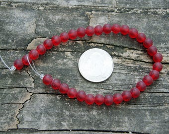 6mm Cultured Sea Glass Round Beads in Cherry Red (8 inch strand)