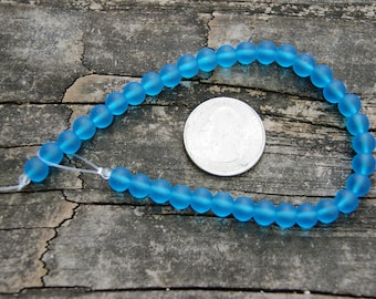 6mm Cultured Sea Glass Round Beads in Pacific Blue (8 inch strand)