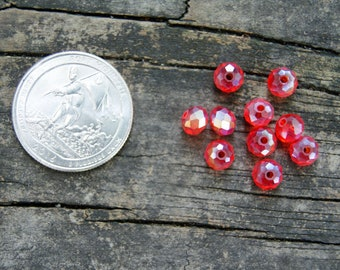 4x6mm Chinese Crystal Rondelles in Red (10)