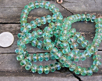 Czech Glass 9x6mm Cruller Beads in Transparent Aqua Green with a Picasso Finish (25)