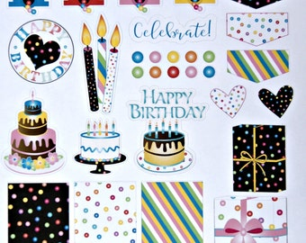 Birthday Planner Sticker Sheet - Printed Planner Sticker Sheet - Bubble Gum Planner Sticker Sheet - Planner Accessories