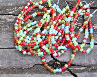 Czech Glass 4x3mm Trica Seed Beads in Red, Green, Amber and Aqua with Matte Finish (50)