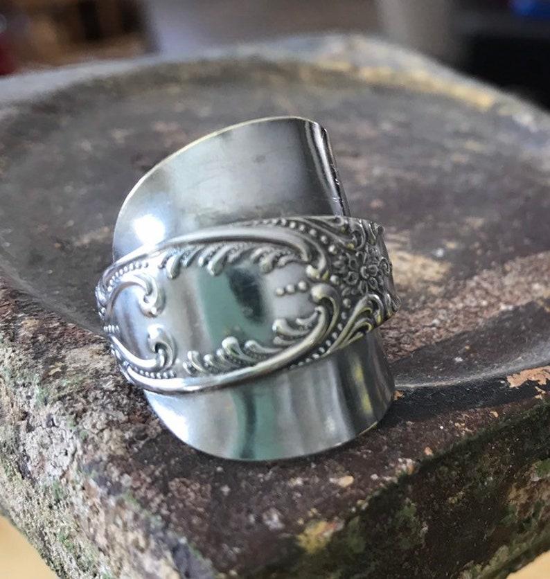 Vtg Silverware Spoon Ring Boho Hippie Dpion Ring vintage ornate spoon ring