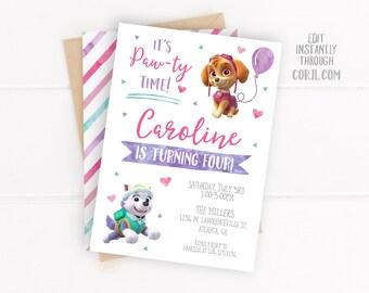 Paw Patrol Birthday Invitation Invites | Girl | Editable Birthday Template Instant Download
