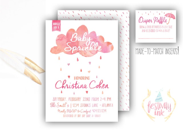 Pink Cloud Shower - Baby Shower Sprinkle Invitation - Watercolor - FREE PRIORITY SHIPPING or Diy Printable