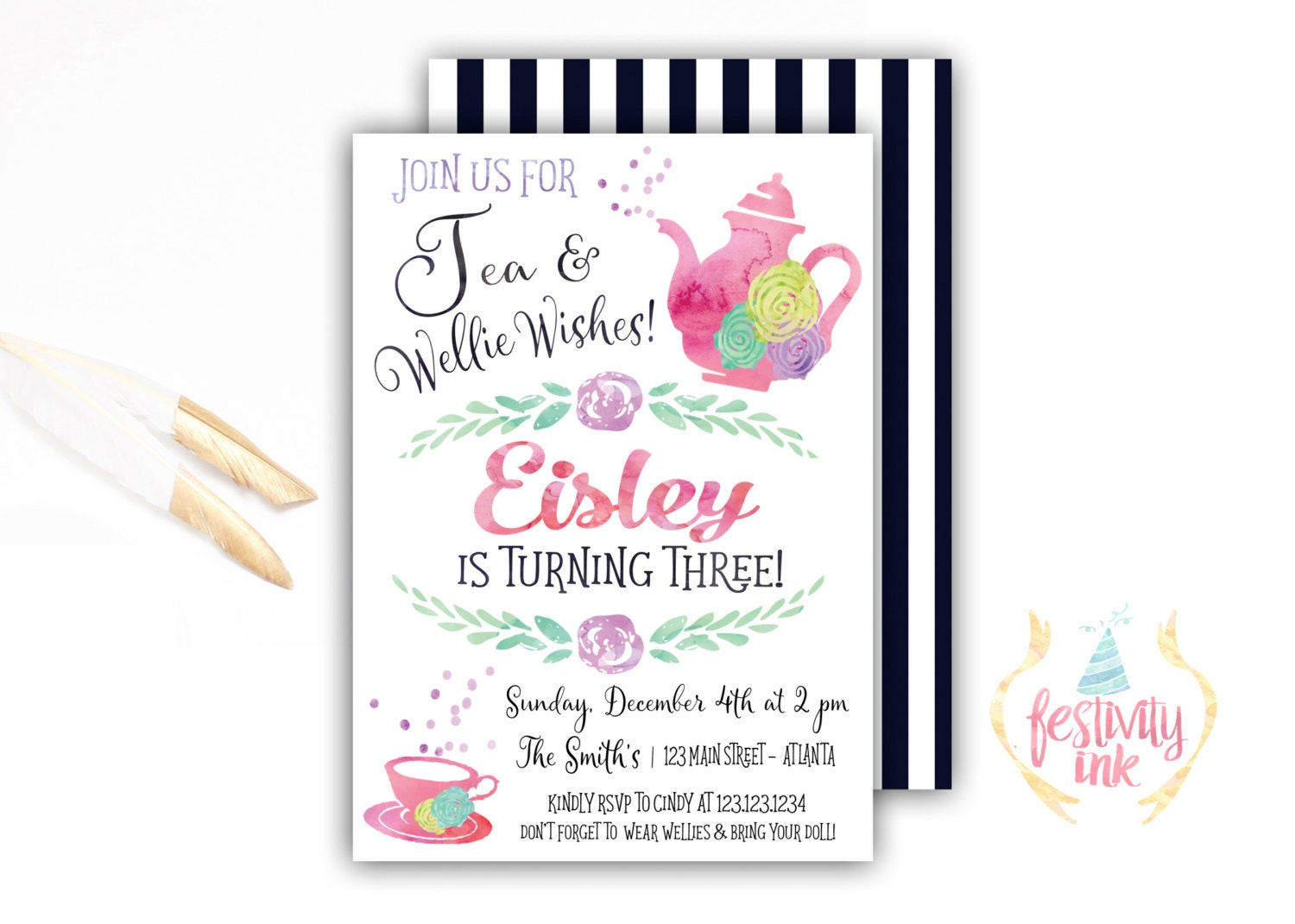 Wellie Wishers Birthday Invitation Tea Party Watercolor   Etsy