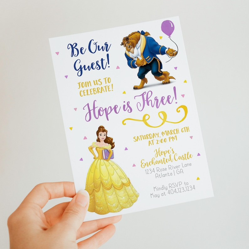Editable Birthday Template Instant Download Invite Beauty and the Beast Birthday Invitation Belle Party