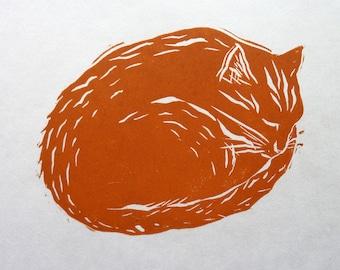 GINGER CAT LINOPRINT - Linocut Cat  - Cat Art - Original Cat Print - Ginger Tom Art Gift