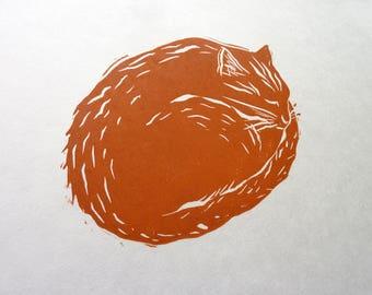 GINGER CAT LINOPRINT - Original Ginger Tom Linocut - Gift for Cat Lover - Original Cat Print - Sleeping Cat Art Print - Cat Art under 30