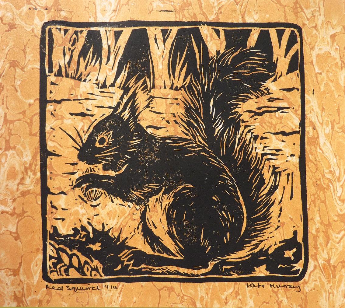 ORIGINAL LINOLSCHNITT Eichhörnchen Tier-Darstellung   Etsy
