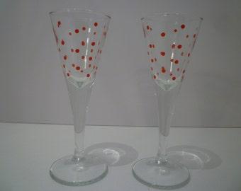 LIQUEUR GLASSES.  Set of Two Vintage 1950's Retro Style Liqueur Glasses.