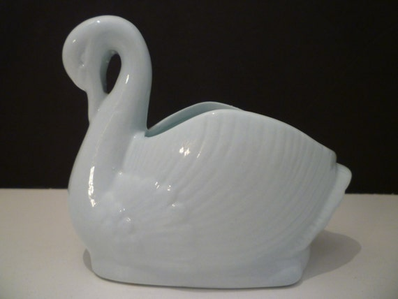Swan Ornamentvase Elegant China Swan Vase Pale Blue Swan Etsy