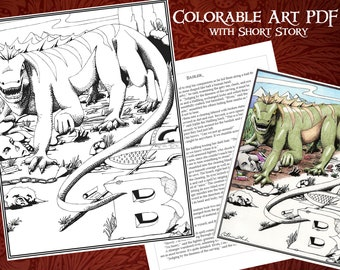 Printable Coloring Basilisk Poster with Short Story