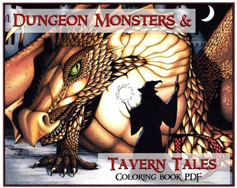 PDF of Dungeon Monsters & Tavern Tales: A Gamer's A to Z Coloring Book with Short Stories