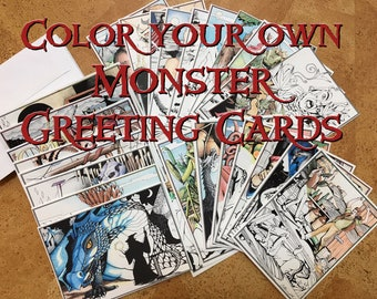 26 Colorable Monster Greeting Cards