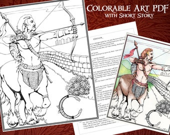 Printable Coloring Centaur Poster with Short Story