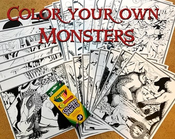 26 Colorable Monster Posters