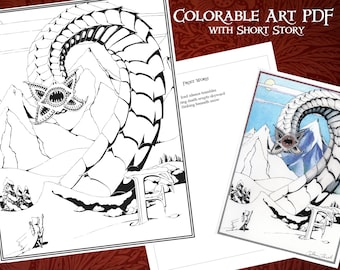 Printable Coloring Frost Worm Poster with Short Story