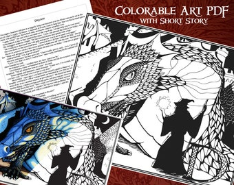 Printable Coloring Dragon Poster with Short Story