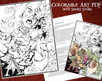 Printable Coloring Poster with Short Story